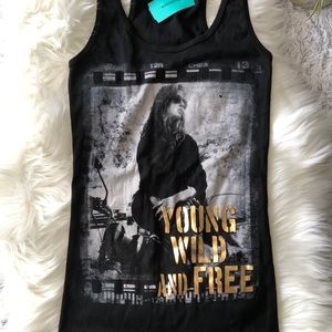 NWT Rhapsody Young Wild Free Graphic Top